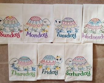 Black Dogs Days of the Week Embroidered Flour Sack Dish Towels