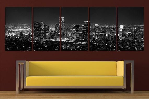 Los Angeles Canvas Print Wall Art Set Los Angeles Skyline Los