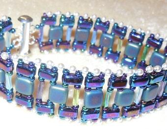 PATTERN Stripe it Up bracelet with CzechMate Bricks Tiles Bugle beads