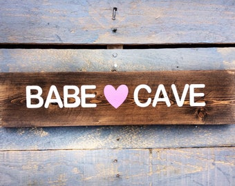 Wood Sign 'Babe Cave' Hanging sign by BeaWOODtiful