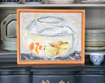 Fish Swimming In a Bowl Oil Painting