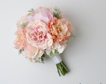 Boho Bouquet, Silk Flower Bouquet, Wedding Bouquet, Bridal Bouquet, Peony Bouquet, Wedding Flowers, Silk Wedding Flowers, Peach, Pink, Coral
