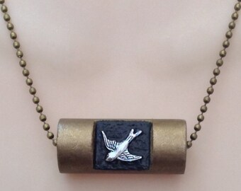 Lincoln Log Toy Bird Pendant Necklace - Rustic Charm - Upcycled Recycled Jewelry - Brass Tone Chain