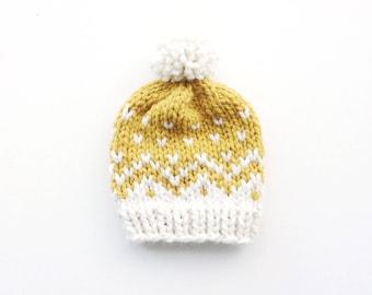 Mustard Yellow Fair Isle Baby Hat > Baby Beanie > Baby Beanie With Pom Pom > Baby Hats > Knit Baby Hat > Kids Beanie Hat > Newborn Baby Hat
