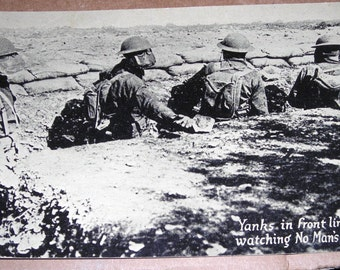 Vintage RPPC Heritage War Postals World War 1.... Yanks at No Man's Land With Gas Masks  Chicago Daily News