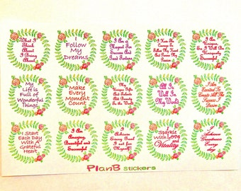 15 Floral Wreath Affirmation Planner Stickers, Affirmation Stickers, Motivational Stickers, Bullet Journal Planner Stickers, Scapbooking