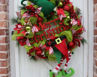 Merry Christmas Elf Deco Mesh Wreath