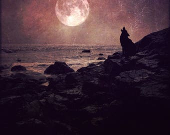 full moon fine art photo wolf howling, landscape photography, dramatic home decor wall large, purple pink ocean surreal spirit animal zodiac