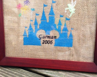 Castle embroidered burlap memento- personalized
