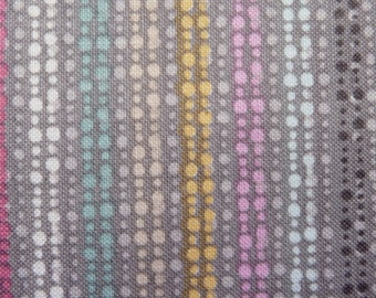 "Lola Violet ""Raining Rainbows"" Grey w/ Multicolored Drops 100% Cotton Fabric"