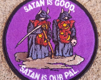 """The Burbs - Satan Is Good, Satan Is Our Pal Embroidered Felt 3"""" Iron On Patch"""