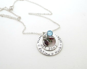 Personalized Family Necklace - Kids Birthstones - Mothers Necklace - Personalized Jewelry - Necklace for Grandma - Grandkids Names - Engrave