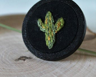 Cactus Pin, Nature, Plants, Handmade, Embroidered, Wooden pin, Lapel pin, Gift, One of a kind