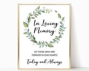 Greenery in loving memory sign wedding printables, wreath wedding in memory of sign, wedding memorial sign in loving memory wedding sign W05