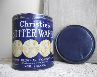 Christies Vintage Tin , Butter Wafers , Blue Advertising Tin Canister , Christie Brown and Company Toronto Canada 1940s , Collectible Tin