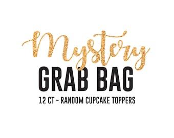 Mystery Grab Bag - Random or Baby Shower Theme - Baby Shower Cupcake Topper Glitter Baby Shower Decoration Baby Girl Baby Boy shiny soiree