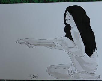 """drawing of nude female erotic portrait """"graceful"""""""