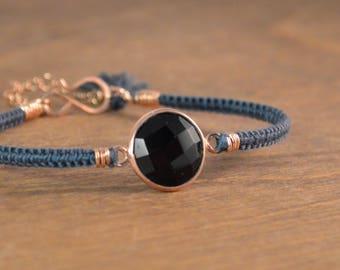 Macrame Gemstone Bracelet - 14k Rose Gold, Onyx and Silk