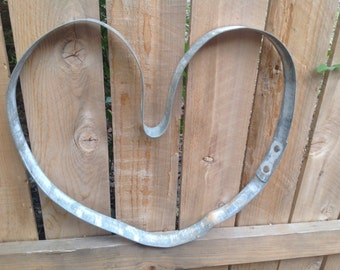 Wine barrel galvanized heart- 100% recycled- Christmas-ready to ship