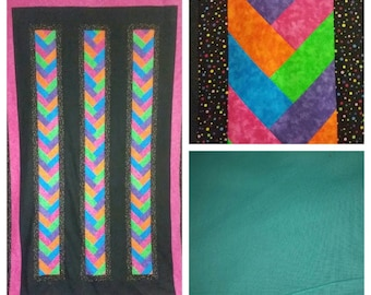 Braided with Bright Colors, Twin Quilt