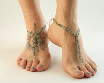 Barefoot Sandals, Hemp Macrame Jewelry, Barefoot Jewelry, Foot Accessories, Beach Footwear, Yoga, Dance, Nude Shoes, Toe Thong, Handmade