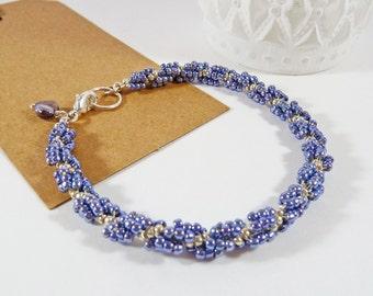 Lilac Spiral Bracelet. Twisted Bracelet. Wedding Jewelry. For Her. Silver. Elegant. Pale Purple. Pretty Summer Bracelet. Thin Bead Bracelet