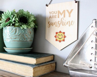 You Are My Sunshine Cross Stitch Kit -  Modern Cross Stitch DIY Kit - Easy Beginner Cross Stitch Kit with Wood Disc - Craft Kit for Nursery