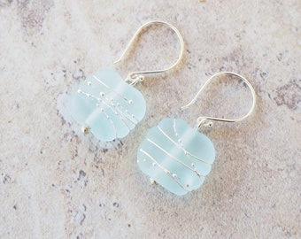 Blue earrings. Recycled glass beads made from a wine bottle. Matt finish, beach glass effect. Perfect everyday earrings. Great gift for her.