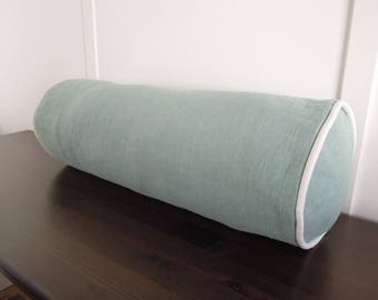 Linen Bolster Pillow Cover, Ready to Ship, Bolster Pillow Cover with Piping, 7x20, Light Blue, Aqua, Turquoise, Seafoam