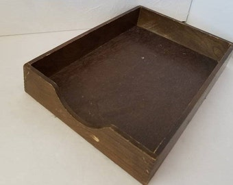 Vintage Wood Hedberg Desk Tray Paper Tray Office Storage Organization Desk Decor Dovetail Shadow Box Desk Tray