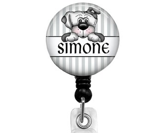 Badge Reels, Personalized Name Badge Reel, Retractable Badge Holder, LVN Badge Reel, Personalized Badge Holder Gray & White Stripes 429A