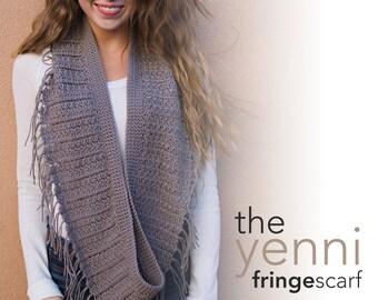 Pattern: Yenni Fringe Infinity Scarf Crochet Pattern PDF (Crochet Pattern by Little Monkeys Crochet) Scarf Crochet Pattern Easy