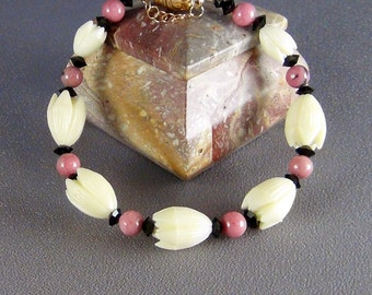 "Bracelet  - Vintage Resin Pikaki Beads from Hawaii, Rhodonite Gemstone Beads, Jet Black Crystals - 7.5"" - Hand Crafted Artisan Jewelry"