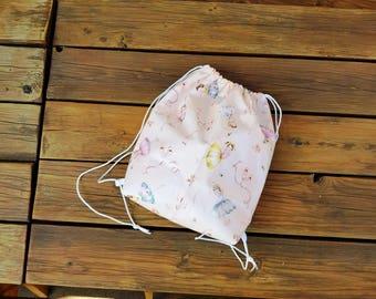 Ballerina Backpack, cotton laminate cloth - Drawstring bag, Dance Bag, School bag, Swim bag, Gym bag, book bag, ballet bag by Sew4MyLoves