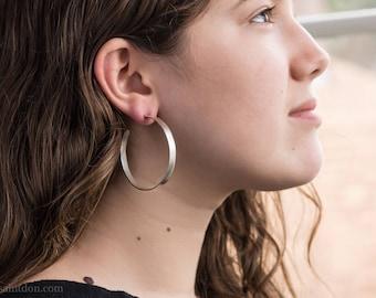 Big sterling silver hoop earrings 50mm large hammered hoops simple classic silver hoop earrings for women special gift for girlfriend