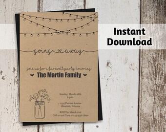 Going Away Party Invitation Printable Template - Rustic Mason Jar Farewell / Bon Voyage Invite on Kraft - PDF Instant Download Digital File