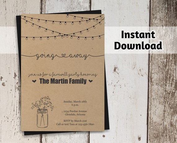 Going Away Party Invitation Printable Template Rustic Mason - Bon voyage party invitation template