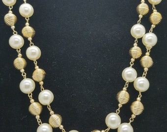 "Vintage 1960's Double Strand Faux Pearl and Gold Tone Wire Bead Collar Necklace - 21"" Long - Marked Hong Kong"