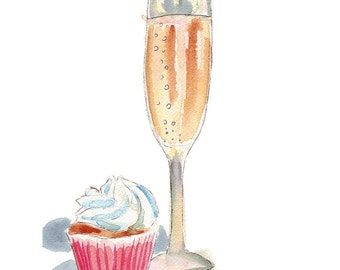 Champagne and Cupcake Watercolor Painting - Champagne and Cupcake Watercolor Art Print, 5x7