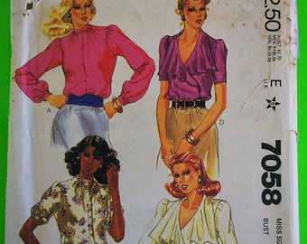 """80s Blouses, Wrap front or Grandpa collar, Size 12, Bust 34"""", UNCUT, F/F, McCalls 7058."""