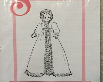 "Dollmaker's Seeley's Pattern #DP1011: Long Baby Dress For 10"" Doll"