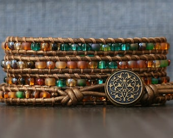 READY TO SHIP boho wrap bracelet - mixed green, gold and brown shades on bronze leather bracelet - rich jewel tone beaded leather jewelry