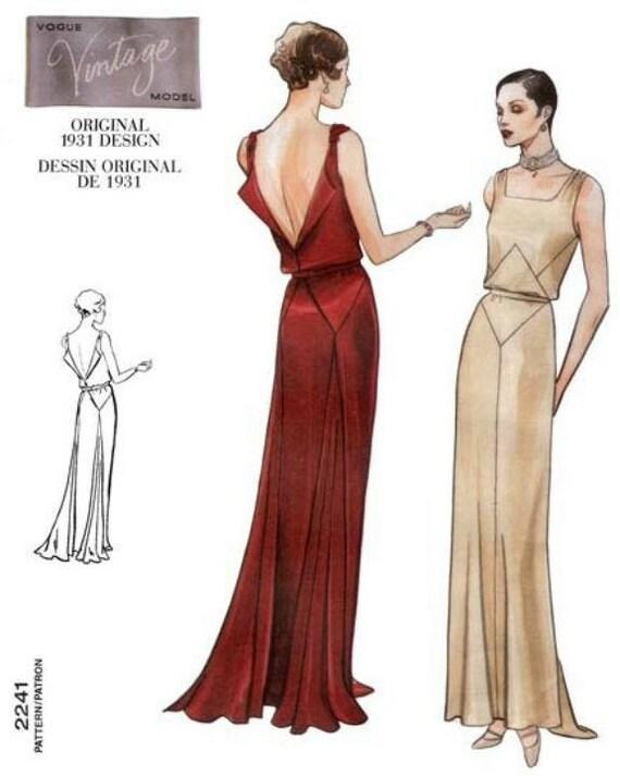 1930s Art Deco Backless Evening Gown Drape Square Neck Vogue