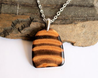 Natural Reclaimed Wood Pendant, Necklace Salvaged Torched, Charred Pine Wood, Pendant, Unique, Sustainable Wooden Jewelry by Hendywood