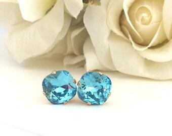 December Birthstone, Gold Earrings Swarovski Crystal Earrings Turquoise Earrings Bridesmaids Gift Bridesmaid Earrings Crystal coworker gift