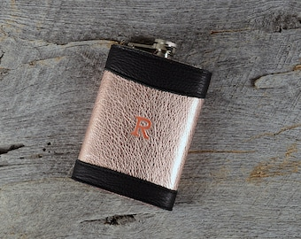 Personalized Leather Flask with Initials |Custom Rose Gold Leather Monogram Flask Holder Bridesmaid Gift for Her Wife Woman Music Festival