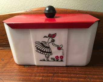 McKee Tipp City Range Set Grease Jar, Milk Glass Rare Red Top with Black Knob,  Watering Can Bonnet Lady, Vintage VGC