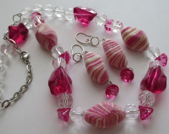 Chunky Necklace & Earrings Set - Vintage Beads - 18 - 23 inch adjustable - Pink