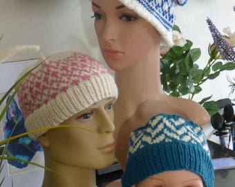 Fair Isle Style Blue and White Beanie Hat