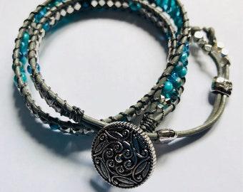 Wrap Bracelet, Bead Bracelet, BOHO Jewelry, Beaded Bracelet, BOHO Bracelet, Leather Wrap Bracelet, Handmade Jewelry, Leather Wrap, For Her